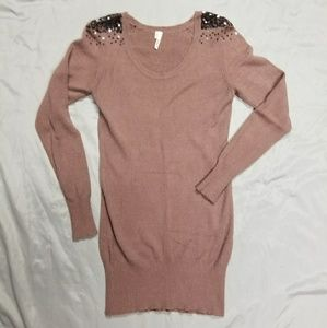 Studio Y Mauve Sweater Dress w/ Sequin Shoulders